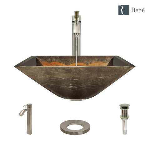 "Rene 17"" Square Glass Bathroom Sink, Metallic Green and Gold, with Faucet, R5-5036-R9-7006-BN"
