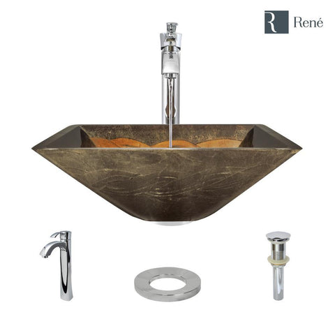 "Rene 17"" Square Glass Bathroom Sink, Metallic Green and Gold, with Faucet, R5-5036-R9-7006-C"