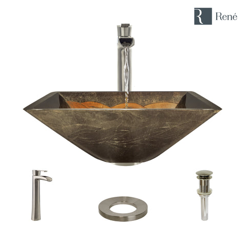 "Rene 17"" Square Glass Bathroom Sink, Metallic Green and Gold, with Faucet, R5-5036-R9-7007-BN"