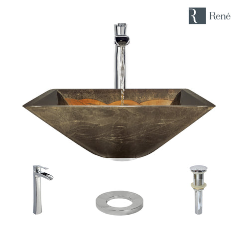 "Rene 17"" Square Glass Bathroom Sink, Metallic Green and Gold, with Faucet, R5-5036-R9-7007-C"