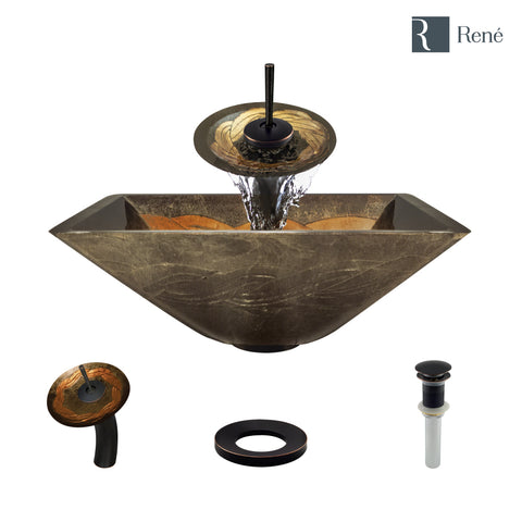 "Rene 17"" Square Glass Bathroom Sink, Metallic Green and Gold, with Faucet, R5-5036-WF-ABR"