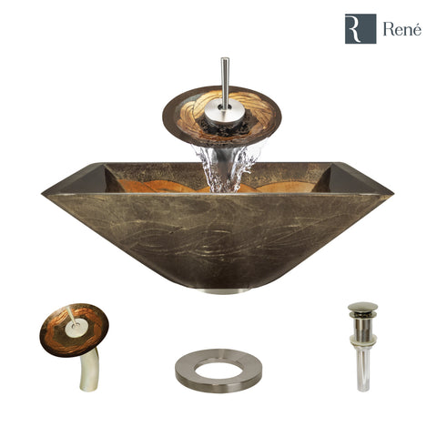 "Rene 17"" Square Glass Bathroom Sink, Metallic Green and Gold, with Faucet, R5-5036-WF-BN"