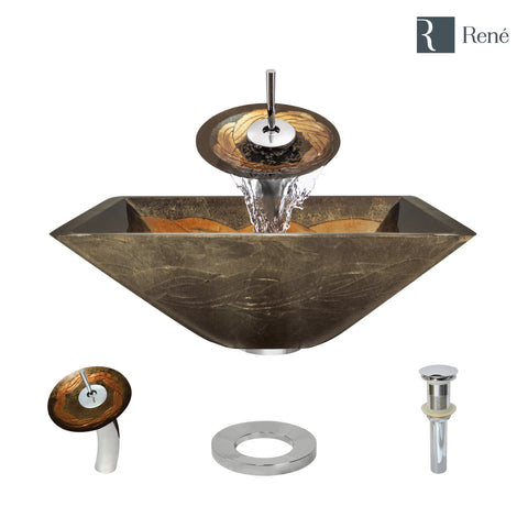 "Rene 17"" Square Glass Bathroom Sink, Metallic Green and Gold, with Faucet, R5-5036-WF-C"