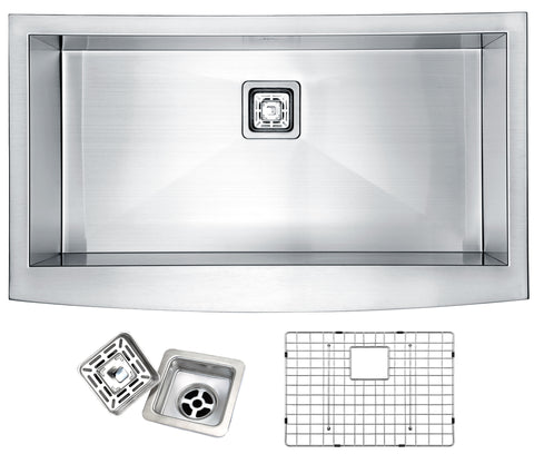 ANZZI Elysian Farmhouse Stainless Steel 32 in. 0-Hole Single Bowl Kitchen Sink in Brushed Satin K-AZ3320-1AS
