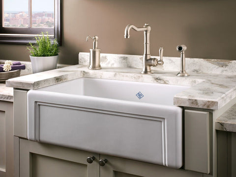 "Rohl Shaws 30"" Fireclay Single Bowl Farmhouse Apron Kitchen Sink, White, RC3017WH - The Sink Boutique"