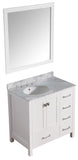 "ANZZI Chateau 36"" W x 35"" H Bathroom Vanity with Carrara White Marble Vanity Top in Carrara White with White Basin and Mirror"
