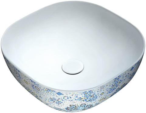 "ANZZI 16"" Byzantian Series Ceramic Vessel Sink in Byzantine Mosaic Finish, LS-AZ245"
