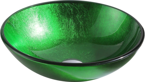 "ANZZI 16"" Melody Series Deco-Glass Vessel Sink in Lustrous Green"