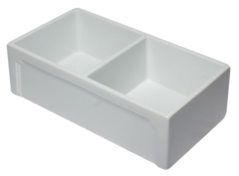"ALFI 33"" Double Bowl Fireclay Farmhouse Apron Sink, White, AB3318DB-W Top Angled View"
