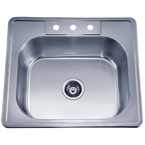 "Dawn 25"" Stainless Steel Top Mount Kitchen Sink, AST103"