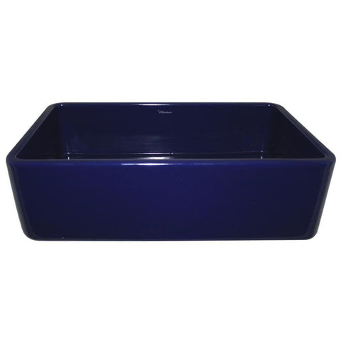 "Whitehaus 36"" Fireclay Single Bowl Farmhouse Apron Sink, Blue, WH3618 - The Sink Boutique"