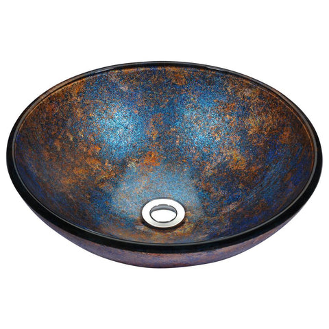 "16"" Stellar Series Deco-Glass Vessel Sink in Sapphire Burst, LS-AZ173 - The Sink Boutique"