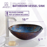 "16"" Stellar Series Deco-Glass Vessel Sink in Sapphire Burst, LS-AZ173"