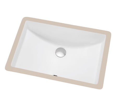 "Dawn 20"" Ceramic Undermount Bathroom Sink, White, Rectangle, CUSN017000"