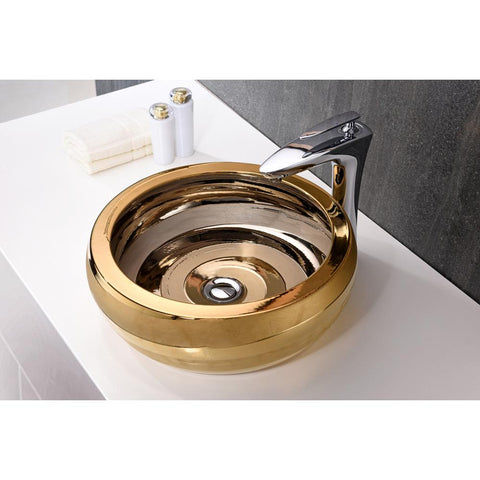 "16"" Regalia Series Vessel Sink in Smoothed Gold, LS-AZ181 - The Sink Boutique"
