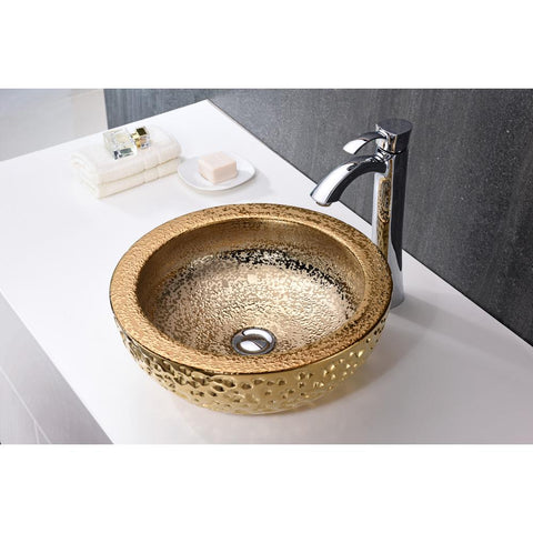 "16"" Regalia Series Vessel Sink in Speckled Gold, LS-AZ179 - The Sink Boutique"