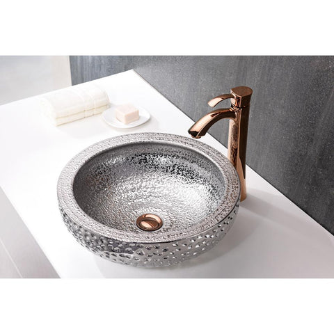 "16"" Regalia Series Vessel Sink in Speckled Silver, LS-AZ180 - The Sink Boutique"