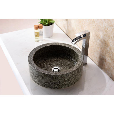 "16"" Black Desert Crown Vessel Sink in Speckled Stone, LS-AZ182 - The Sink Boutique"