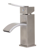ALFI Brushed Nickel Square Body Curved Spout Single Lever Bathroom Faucet, AB1258-BN