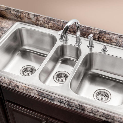 "Houzer 41"" Stainless Steel Topmount Triple Bowl Kitchen Sink, PGT-4322-1 - The Sink Boutique"