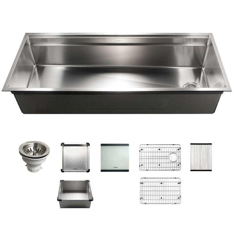 "Houzer Novus 45"" Workstation Kitchen Sink, Stainless Steel, NVS-6500"