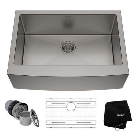 "Kraus 30"" Stainless Steel Single Bowl Farmhouse Apron Kitchen Sink, KHF200-30 - The Sink Boutique"