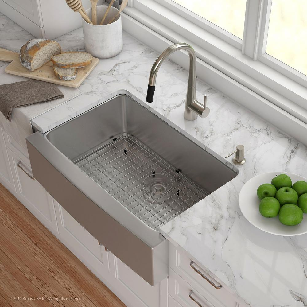 Kraus 30 Stainless Steel Single Bowl Farmhouse Kitchen Sink Khf200 30 The Sink Boutique