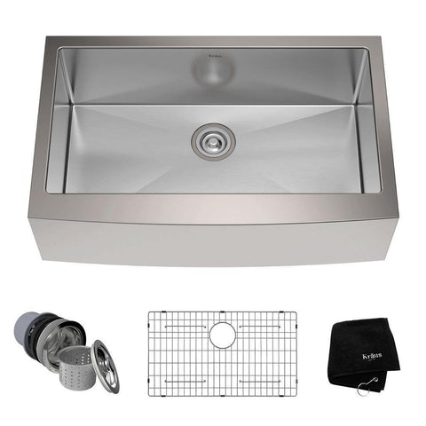 "Kraus 33"" Stainless Steel Single Bowl Farmhouse Apron Kitchen Sink, KHF200-33 - The Sink Boutique"