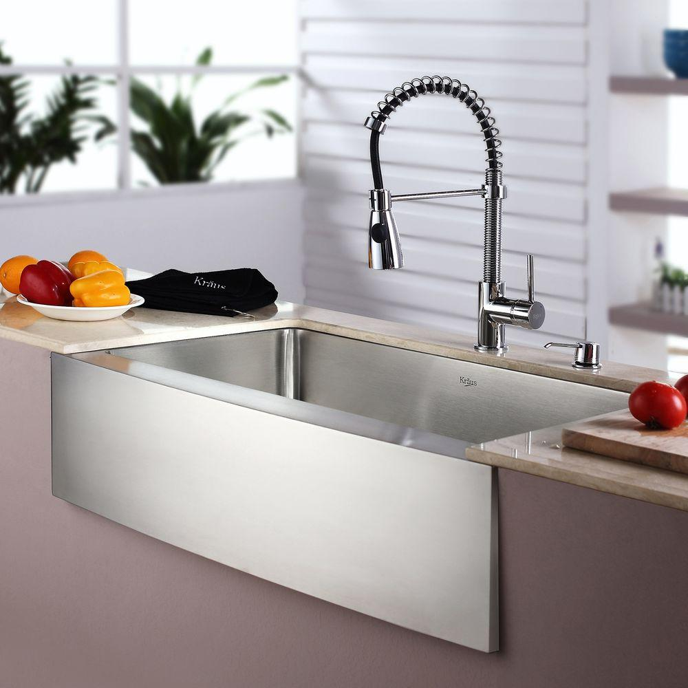 Kraus 33 Farmhouse Kitchen Sink With Kitchen Faucet And Accessories Khf200 33 Kpf1612 Ksd30