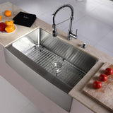 "Kraus 33"" Farmhouse Kitchen Sink with Kitchen Faucet and Accessories, KHF200-33-KPF1612-KSD30"
