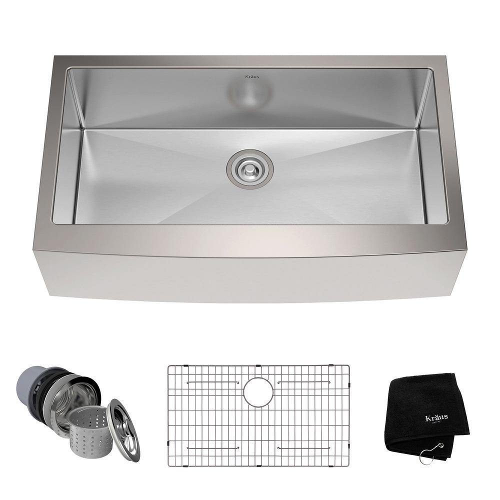 Kraus 36 Stainless Steel Single Bowl Farmhouse Kitchen Sink Khf200 36 The Sink Boutique