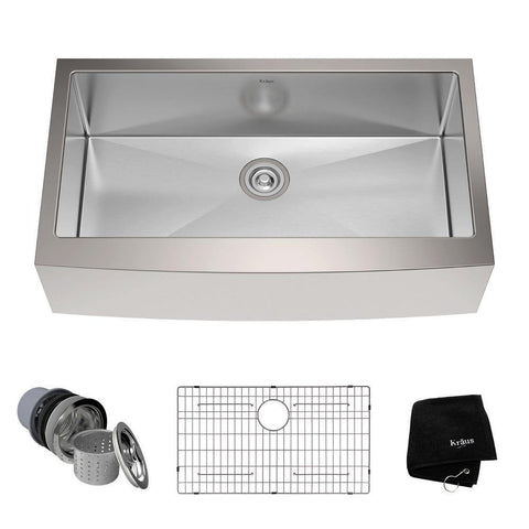 "Kraus 36"" Stainless Steel Single Bowl Farmhouse Apron Kitchen Sink, KHF200-36 - The Sink Boutique"