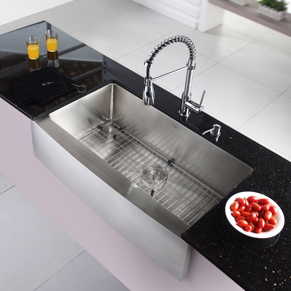 Kraus 36 Farmhouse Kitchen Sink With Faucet And Soap Dispenser Khf20 The Sink Boutique