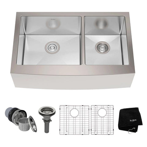 "Kraus 33"" Stainless Steel 60/40 Double Bowl Farmhouse Apron Kitchen Sink, KHF203-33 - The Sink Boutique"