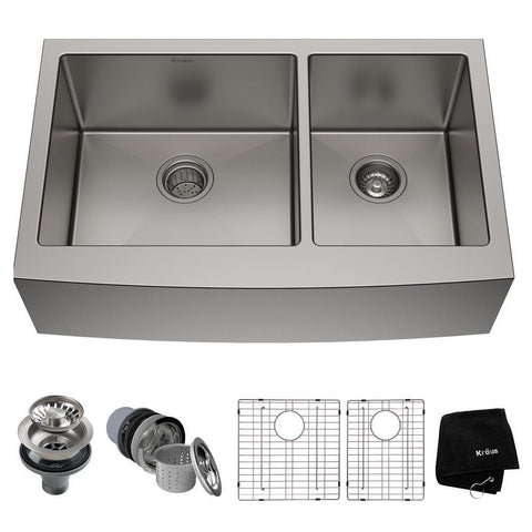 "Kraus 36"" Stainless Steel 60/40 Double Bowl Farmhouse Apron Kitchen Sink, KHF203-36 - The Sink Boutique"