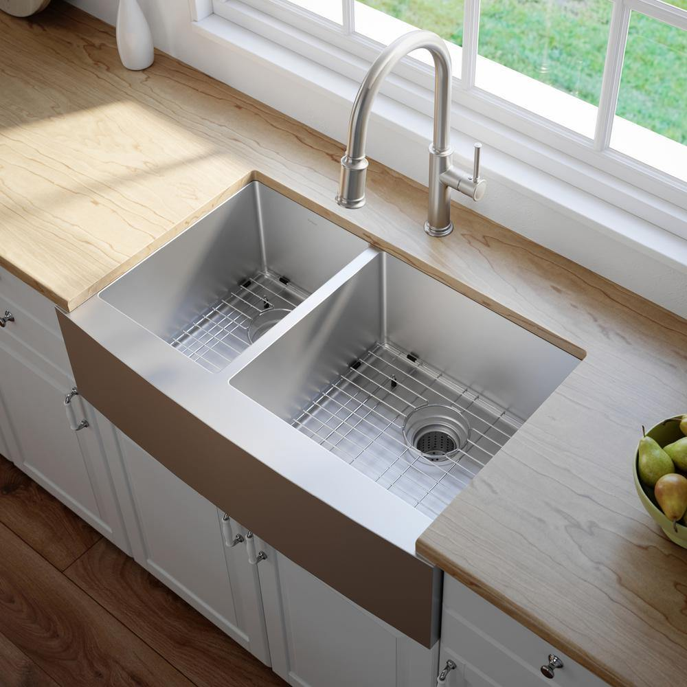 Kraus 33 Stainless Steel Double Bowl Farmhouse Kitchen Sink Khf204 33 The Sink Boutique