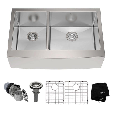 "Kraus 33"" Stainless Steel 40/60 Double Bowl Farmhouse Apron Kitchen Sink, KHF204-33 - The Sink Boutique"
