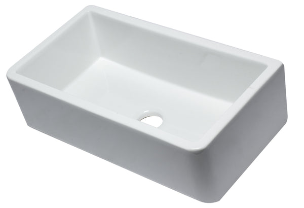 "ALFI Brand AB3318SB-W 33"" White Smooth Apron Solid Thick Wall Fireclay Single Bowl Farmhouse Sink"