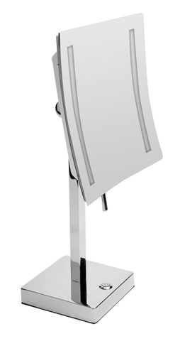 "ALFI brand ABM8FLED-PC Polished Chrome Tabletop Square 8"" 5x Magnifying Cosmetic Mirror with Light"