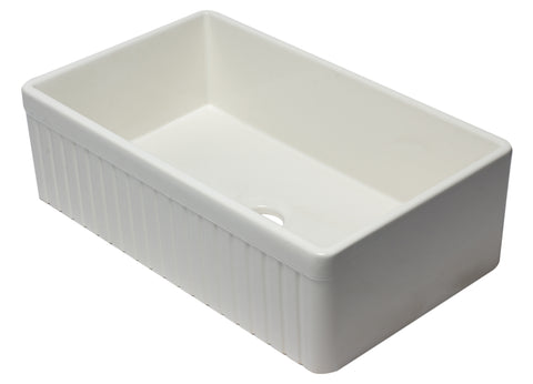 "ALFI brand AB532-B 33"" Biscuit Single Bowl Fluted Apron Fireclay Farm Sink"