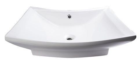 "Eago 20"" Porcelain Bathroom Sink, White, BA142"
