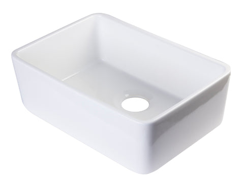 "ALFI brand AB503-W White 23"" Smooth Apron Fireclay Single Bowl Farmhouse Kitchen Sink"