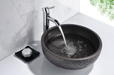 "16"" Stellar Series Ceramic Vessel Sink in Black, LS-AZ174 - The Sink Boutique"