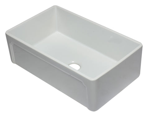 "ALFI 33"" Single Bowl Fireclay Farmhouse Apron Sink, White, AB3320SB-W"