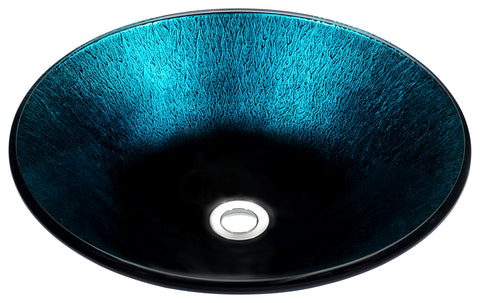 "ANZZI 17"" Stellar Series Deco-Glass Vessel Sink in Marine Crest, LS-AZ169"