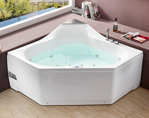 EAGO AM156ETL 5 ft Clear Corner Acrylic Whirlpool Bathtub for Two