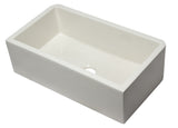 "ALFI Brand AB3318SB-B 33"" Biscuit Smooth Apron Solid Thick Wall Fireclay Single Bowl Farmhouse Sink"