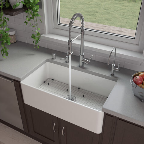 "ALFI brand 33"" Fireclay Farmhouse Sink, White, ABF3318S-W"