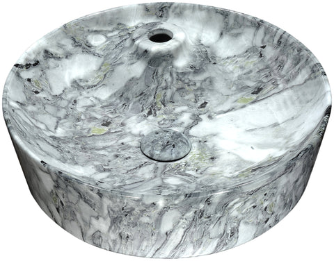"ANZZI 17"" Marbled Series Ceramic Vessel Sink in Marbled Snow Finish, LS-AZ233"