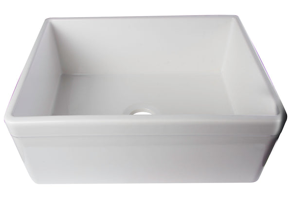 "ALFI brand AB506-W White 26"" Decorative Lip Apron Single Bowl Fireclay Farmhouse Kitchen Sink"